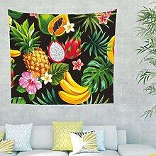Ananas Banane Blätter Wandteppich Wandbehang