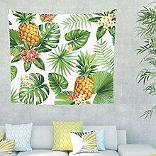Ananas Blätter Blumen Wandteppich Wandbehang