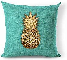 Ananas-Dekokissenbezug, Baumwolle/Leinen,