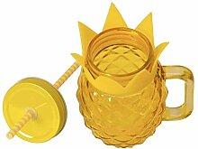 Ananas Glas mit Deckel und Strohhalm - Trinkglas