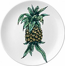 Ananas Pflanze Früchte Essen grün Porzellan Dekoration Dessertteller 20,3cm Abendessen Home Geschenk