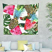 Ananas Wassermelone Blätter Wandteppich