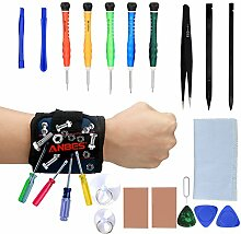 anbes Öffnung Pry Tool Reparatur-Kit für Smart Phone Demontage und Reparatur–Magnet Armband Embedded mit starkem Magneten für Schrauben, Nägel, Bits, Pins, Pinzette und kleine Werkzeuge
