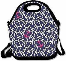 Anchor Necklace Portable Lunch Box Tote Bag Rugged
