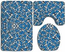 Anchors Blue 3-teiliger Badteppich-Set-Badteppich,