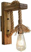 Anclk Vintage Hanfseil Wandleuchte Holz Industrie