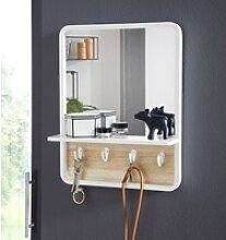andas Wandspiegel, mit Ablage und 4 Metallhaken