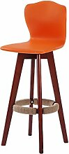 ANDE Bar Stuhl, hohe Rückenlehne Stuhl Bar Hocker Hochstuhl Massivholz Kreative Rotation Einfache Mode Salverform Back Bar Wohnzimmer Café W48cmxH101cm Originalität ( Farbe : C )