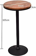 ANDE Retro Bar Hocker, Eisen Bar Stuhl Tisch Set Bar Stuhl Restaurant KTV Massivholz High Table Runder Tisch Rückenlehne High Bar Stuhl 45-75cm Originalität ( Farbe : B , größe : 60*60*105cm )