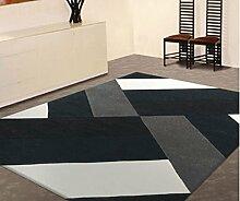 ANDEa Europa und die Vereinigten Staaten Stil Großes Wohnzimmer Teppich Schwarz und Weiß Schlafzimmer Nachttisch Teppich nach Maß Kaffee Tisch Matte Handgefertigte Verschlüsselung Dicker Originalität ( größe : 120*170CM )