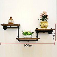 ANDEa Regal Rack Blume Racks Rack auf der Wand Rohr Retro Wohnzimmer Einfache Massivholz Kunst Gitter Originalität ( größe : A )