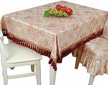 ANDEa Tischdecke Luxus große runde Tisch Tischdecke Stoff Baumwolle Leinen Tischdecke runde ovale Lila Couchtisch deckte Stoff Tassel Seite Gemütlich ( Farbe : Lila , größe : 150*150cm )