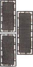 andiamo 1100481 Louisville Bettumrandung Webteppich Bettvorleger Bordüre Teppichläufer Läuferset Brücke 1x67cmx180cm - 2x67cmx140cm Bettumrandung, Polypropylen, anthrazit/Silber, 180 x 67 x 1 cm