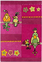 andiamo 704450 Kinder Spielteppich Kakadu Papagei Teppich, polyester, rosa, 160.0 x 100.0 x 1.5 cm