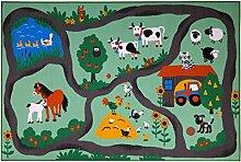 andiamo Straßenteppich Farm, Kinderteppich Bauernhof, schadstoffgeprüfter Kinderzimmerteppich, Pflegeleicht, strapazierfähig, aus Polyamid, Farbe:Bunt, Größe:160 x 230 cm