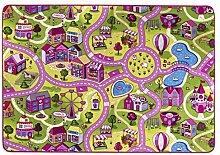 andiamo Straßenteppich/Spielteppich Sugar Town, Pink, Rosa, Gut/Prodis Geprüft, Weich, Größe:140x200cm