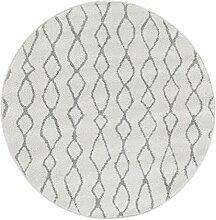 Andiamo Webteppich Bolognia Ornament-Muster Runder-Teppich Modern Polypropylen Öko-Tex 100, Grau-Ornamente, 133 x 133