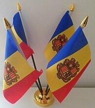 Andorra Andorra Wappen 4Flagge Desktop Tisch mit Gold Boden