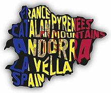Andorra Flag Slogan - Self-Adhesive Sticker Car