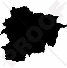 ANDORRA Karten-Form, andorrisch Silhouette 130mm Auto & Motorrad Aufkleber, Vinyl Sticker - WAHL VON 22 FARBEN