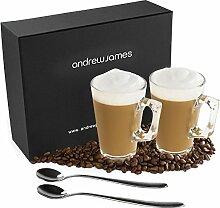 Andrew James Kaffeetassenset   Latte Gläser Set