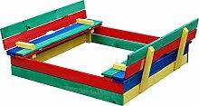 Andrewex Sandkasten 110 x 110 cm Mehrfarbig blau gelb rot mit Sitzbank aus Holz Kiefer /Fichte Sandbox