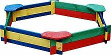 Andrewex Sandkasten Sandbox 6 eckig 130 cm aus Holz mehrfarbig aus Holz Kinder Spielplatz