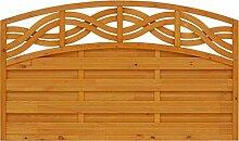 Andrewex Vorgartenzaun Chateao 90/105 x 180 cm ( Höhe x Breite cm ) lasiert, farbig endbehandelt, Farbton Pinie aus Holz Windschutz / Sichtschutz