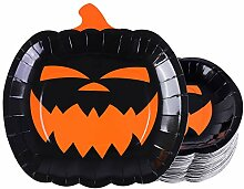 Aneco 50 Stück Halloween Pappteller Schwarz