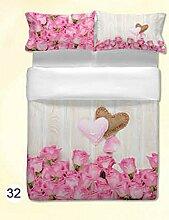 ANGEBOT: Bettbezug Hohe Qualität–Blumen Herzen von Rose–Doppelbett in Digitaldruck–tolle Geschenkidee–Made in Italy