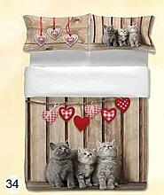 ANGEBOT: Bettbezug Hohe Qualität–Kätzchen hängende Herzen–Doppelbett in Digitaldruck–tolle Geschenkidee–Made in Italy
