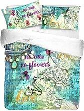 ANGEBOT: Bettbezug Mikrofaser Regen von Blumen Doppelbett in Digitaldruck–tolle Geschenkidee–Made in Italy -