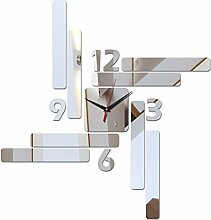 Angebot diy Wand Aufkleber Dekoration modernes Design Wohnzimmer Uhren Uhr acryl Spiegel Aufkleber, Silber