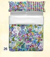 ANGEBOT: Komplett Bettbezug Hohe Qualität–Blumen-Frühling–Doppelbett in Digitaldruck–einschließlich Spannbettlaken uni–tolle Geschenkidee–Made in Italy