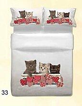 ANGEBOT: Komplett Bettbezug Hohe Qualität–Katzen Herzen Welpe–Doppelbett in Digitaldruck–einschließlich Spannbettlaken uni–tolle Geschenkidee–Made in Italy