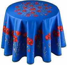ANGEBOT: Runde Tischdecke, blau mit rotem Klatschmohn, ca. 180 cm, Baumwolle von Provencestoffe.com