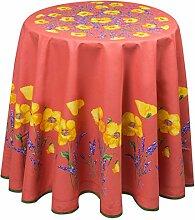 ANGEBOT: Runde Tischdecke,orange mit Klatschmohn,