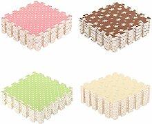 Angela-homestyle™ 9 tlg Schaumstoff Puzzlematte Bodenschutz-matte Spielteppich Spielen Kindermatte (30 cm x 30 cm) (Beige)