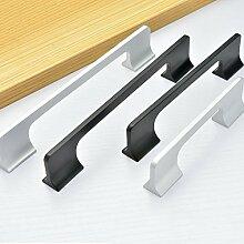 Angela-homestyle™ Überzug Aluminium Möbelgriffe Möbelknopf Möbelgriff Schrankgriff Schubladengriff Küchengriff (192mm, Schwarz)