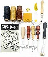AngelaKerry 13 Stück/Kasten Leder Zubehör Werkzeuge Setzen Carft Grundlegende Set mit 150d 50m/roll Gewachst Faden Handwerk Ahle