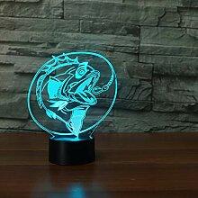 Angeln LED 3D Nachtlicht 7 Farbwechsel 3D Fische