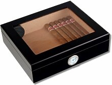 Angelo Humidor Black-Editon Sichtfenster + Firelighter