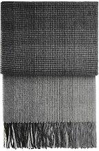 Angenehme leichte grau-schwarz karierte Alpaka Wolldecke 'Horizon', 130x200cm, 560g
