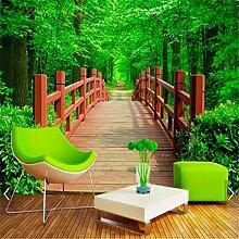 Angepasste 3D Fototapete Naturpark Holzbrücke