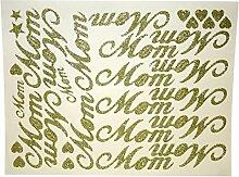 angewiesen Band Script Wort Aufkleber, Gold, Mom