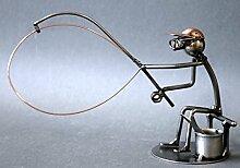 Angler als Schraubenmännchen Drahtfigur Schraubenkunst Metallmännchen Metallfigur Metallkunst aus Eisen und Kupfer Design Hinz & Kuns