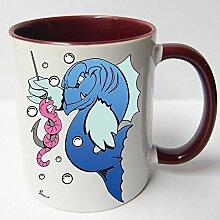 Angler Angel Fischer Premium Geschenk Tasse Keramik, Original Sunnywall ® Geschenkidee (16-Tasse Wurm Angst rotbraun)