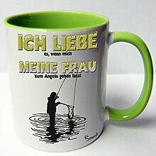 Angler Angel Fischer Premium Geschenk Tasse Keramik, Original Sunnywall ® Geschenkidee (14-Tasse Liebe Angeln Grün)