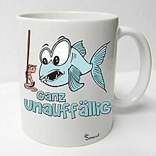 Angler Angel Fischer Premium Geschenk Tasse Keramik, Original Sunnywall ® Geschenkidee (12-Tasse Unauffällig weiß)