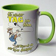 Angler Angel Fischer Premium Geschenk Tasse Keramik, Original Sunnywall ® Geschenkidee (19-Tasse Fischen Arbeit Grün)